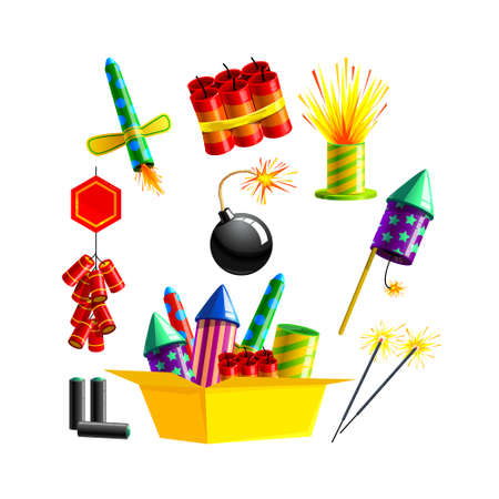 Set Pyrotechnics and Fireworks. Rocket and Flapper with Bomb with Burning Wick. Firework for Birthday Party Celebration Illustration