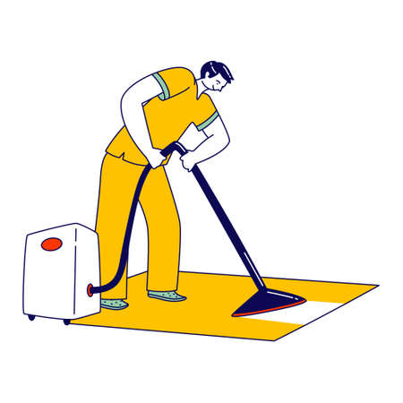 Professional Janitor Character Cleaning Rag in Office or Hotel Using Steamer Iron. Cleaning Company Staff Washing Floor