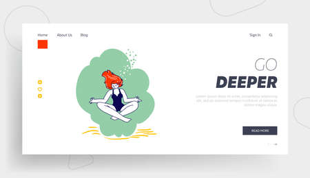 Relaxed Girl Meditating on Lotus Posture on Ocean Bottom Landing Page Template. Young Female Character Underwater Yoga Ilustración de vector
