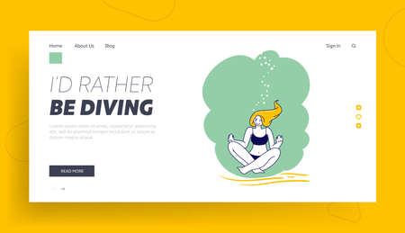 Young Female Character Underwater Yoga Recreation Landing Page Template. Free Diving Activity. Relaxed Girl Meditating Illustration