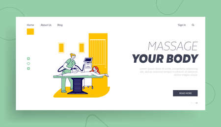 Lpg Massage Beauty Spa Procedure Landing Page Template. Female Character Applying Treatment in Cosmetology Clinic