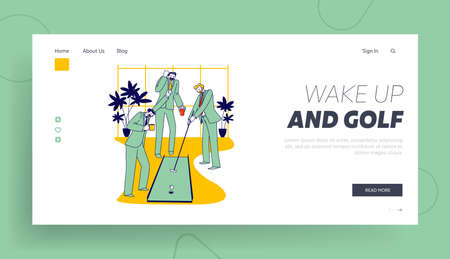 Businessmen Characters Playing Mini Golf in Office on Coffee Break Landing Page Template. Business People Discuss Deals
