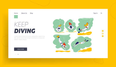 Freediving Landing Page Template. Female Characters Underwater Activities, Free Diving, Swimming with Mask and Flippers