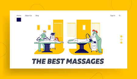 Apparatus Cosmetology Clinic Landing Page Template. Female Characters Having Procedure of Lpg on Body and Face in Spa