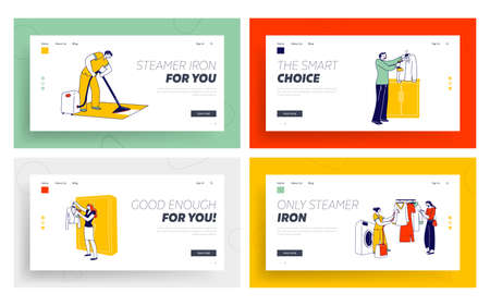 Characters Use Steamer Iron Landing Page Template Set. Laundry Staff Steam Garment, People Steaming Apparel, Household