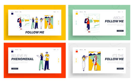 Follow Me Gesture Landing Page Template Set. Characters Outstretching Hand Smiling Woman Hold Hand First Person View