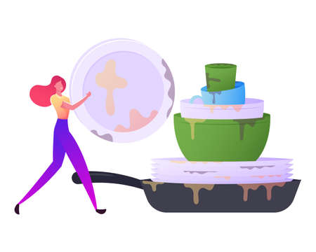 Household Activity, Domestic Chores and Hygiene Duties, Dishwashing Sanitary Process. Female Carry Plate to Dishwasher