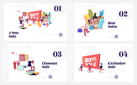 Big Sale Landing Page Template Set. Characters Shopping at Discount. Shopaholic Purchases, Men and Women with Packages