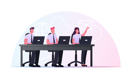 Characters Sitting at Office Desk with Laptops Take Part in Online Meeting or Briefing. Remote Communication, Internet
