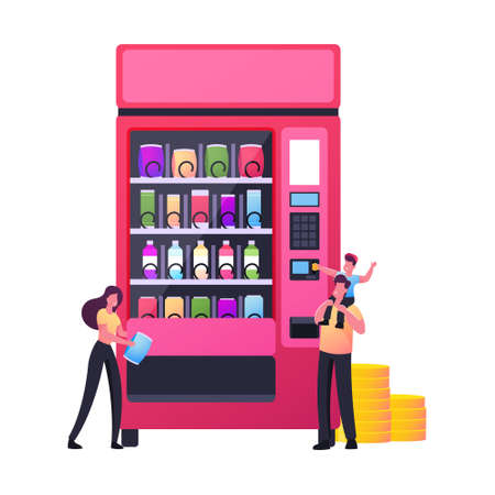 Tiny Characters Buying Snacks in Vending Machine. Son Sitting on Father Shoulders Put Coin into Automate Buying Fastfood Ilustração