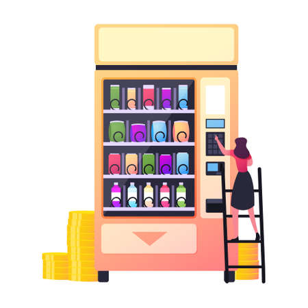 Retail Technology for Selling Fastfood. Vending Machine Food Concept. Tiny Female Character Put Coin for Buying Snacks Ilustração