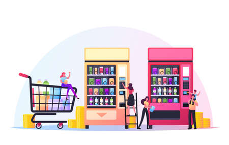 Vending Machine Concept. Tiny Characters Put Coins for Buying Various Snacks and Crisp from Huge Automate, Food Retail Ilustração
