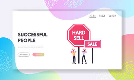 Advertisement Landing Page Template. Tiny Characters Suffer of Intrusive Adware Stand at Huge Hard Sell and Sale Promo
