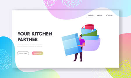 Household Activity, Dishwashing Landing Page Template. Tiny Male Character Washing Dishes Stand at Clean Crockery Illustration