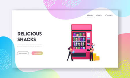 Tiny Characters Buying Snacks in Vending Machine Landing Page Template. Little Son Sitting on Father Buying Fastfood