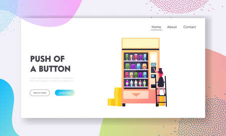 Vending Machine Food Retail Technology Landing Page Template. Tiny Female Character Put Coin for Buying Fastfood Snacks