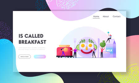 Fun Breakfast Landing Page Template. Characters Cooking Funny Meal Look Like Smiling Human Face made of Fried Eggs