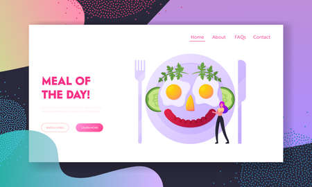 Tiny Girl Cook Food, Fun Breakfast Landing Page Template. Tiny Female Character Cooking Meal Look Like Smile Human Face