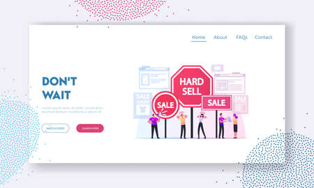 Hard Sell Landing Page Template. Promoter Use Policy of Aggressive Salesmanship and Advertising Pressing Customers Illusztráció