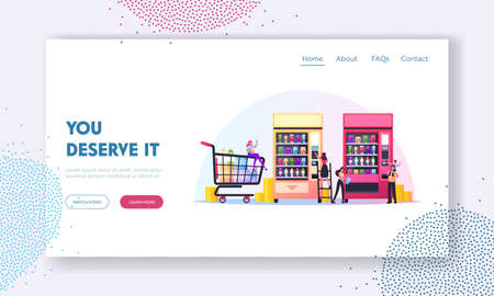 Vending Machine Food Landing Page Template. Tiny Characters Put Coin for Buying Snack or Crisp from Huge Retail Automate Ilustração