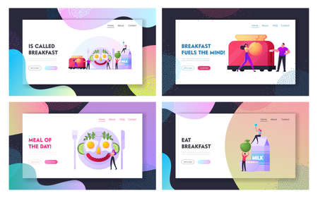 Fun Breakfast Landing Page Template Set. Characters Cooking Funny Meal Look Like Smiling Human Face made of Fried Eggs Ilustracja