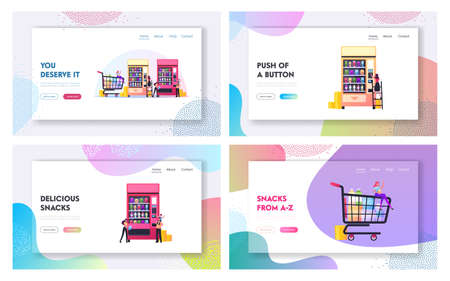 Vending Machine Food Landing Page Template Set. Tiny Characters Buying Snacks from Huge Automate, Retail Technology