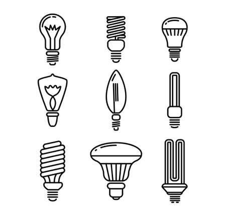 Set of Light Bulbs of Various Shapes Icons Isolated on White Background. Monochrome Idea Signs, Lighting Electric Lamps 向量圖像