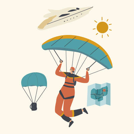 Skydiver Character Jumping with Parachute Soaring in Sky. Skydiving Parachuting Sport. Parachutist Flying Through Clouds Illustration