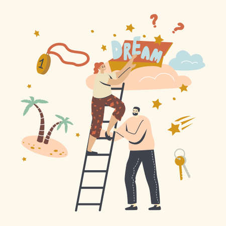 People Taking Star from Sky, Aspiration and Motivation Achievement. Follow Dream Concept with Characters Climbing Ladder Illustration