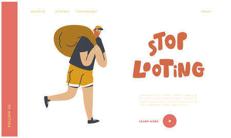 Looting Landing Page Template. Masked Robber Character Run with Stolen Money Sack, Criminal Robbery, Gangster Violence