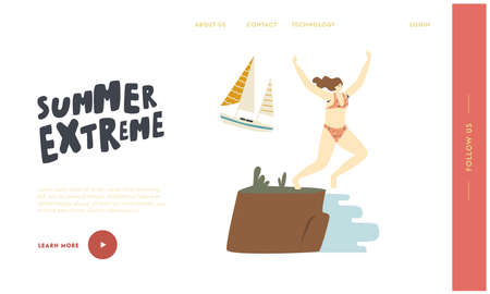 Summer Extreme Landing Page Template. Happy Female Character Jumping from Cliff Edge to Ocean, Beach Party Celebration