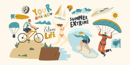 Characters Summer Extreme Sport Activity Surfing, Paragliding, Mountain Biking, Jumping from Edge. Sports People Relax Illustration