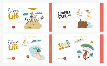Leisure Sport Xtreme Recreation Landing Page Template Set. Characters Summer Extreme Sport Activity Surfing, Paragliding