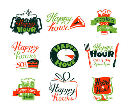 Happy Hour Icons Set, Discount Special Offer for Cafe or Restaurant Visitors, Promo Labels with Beer Mug, Cake and Clock