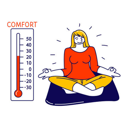Relaxed Female Character Sitting in Lotus Posture Meditating at Home with Thermometer Show Warm Comfort Temperature