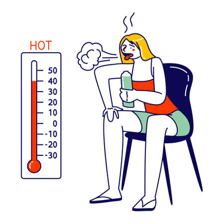 Woman Drinking Water from Bottle Sitting at Chair Look on Thermometer Suffer of High Temperature at Summer Time at Home Illustration