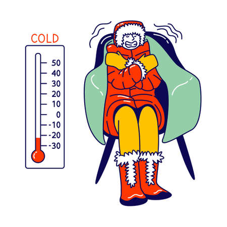 Freezing Character Wrapped in Warm Winter Clothes, Hat and Boots Sit in Armchair with Thermometer Show Low Temperature