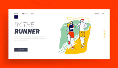 Characters Summertime Sport Activity Landing Page Template. Happy Couple in Sports Wear and Sneakers Running Along Beach