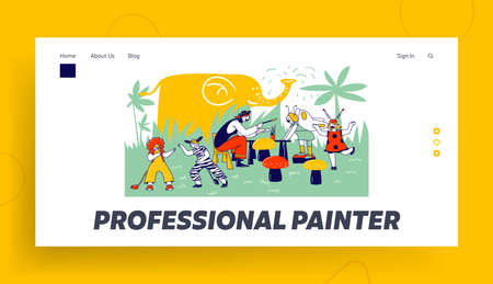 Children Face Painting Landing Page Template. Animator Wearing Pirate Costume Paint on Kids Faces during Birthday Party