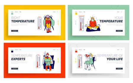 Comfort Temperature Landing Page Template Set. Cold, Cool, Normal, Warm and Hot Conditions. Women in Winter Clothes