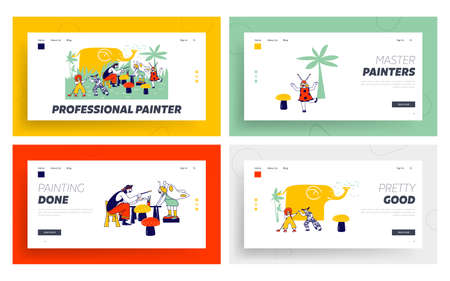 Children Face Painting Landing Page Template Set. Animator Character Wearing Pirate Costume Paint on Kids Faces