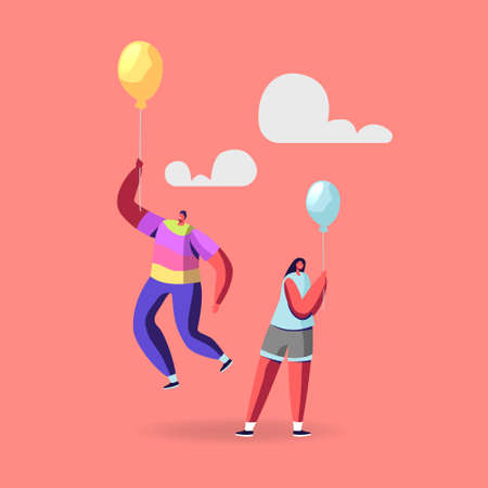 Outstanding Individuality, Be Unique. Male Character in Colorful Rainbow Clothes Flying on Yellow Balloon above Woman