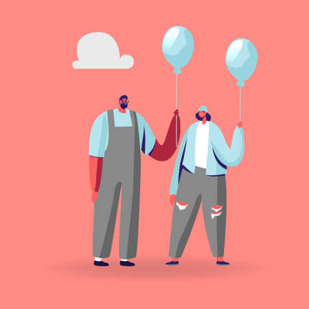 Young Identical Male and Female Characters in Modern Fashioned Clothing Holding Blue Balloons. Creativity, Individuality