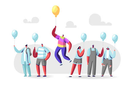 Unique Male Character in Colorful Rainbow Clothes Flying on Yellow Balloon above Crowd of People in Identical Shirts