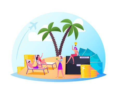 Successful Characters Enjoying Life in Comfort Zone. Relaxed People on Exotic Island with Palm Trees under Glass Dome Иллюстрация