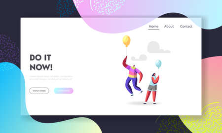 Outstanding Individuality, Unique Landing Page Template. Male Character in Rainbow Clothes Flying on Balloon above Woman Vectores