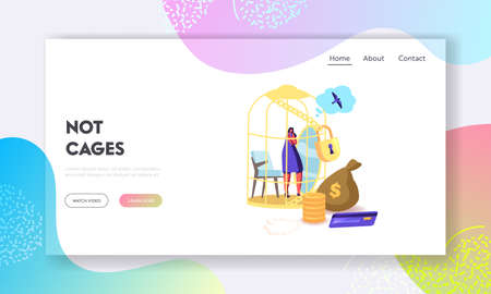 Woman Dream to Escape from Gold Cell for Having Simple Human Things Landing Page Template. Golden Cage Escape Dreaming