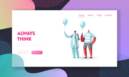 Creativity, Individuality and Inspiration, Be Unique Landing Page Template. Identical Male and Female Characters Illustration