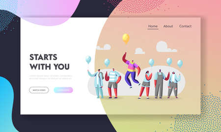Unique Landing Page Template. Man in Colorful Rainbow Clothes Flying on Yellow Balloon above Crowd of Identical People