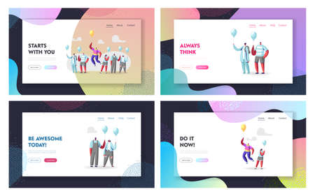 Unique Landing Page Template Set. Male Character in Colorful Rainbow Clothes Flying on Balloon Outstanding Individuality